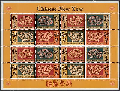 SIERRA LEONE:1995 Chinese New Year (Pig) sheetlet SG2240a x4 NMH