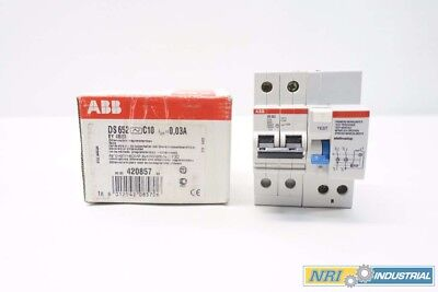 New Abb Ds 652 C10 Residual Current Circuit Breaker 2P 10A Amp 230V-Ac D536564