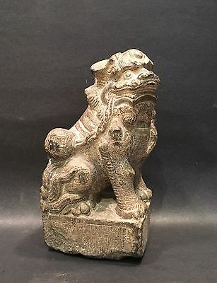 Rare 19th C. Chinese Carved Stone Foo Lion