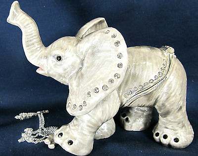 Elephant Baby Jeweled Pewter Trinket Box w/ Necklace Wildlife