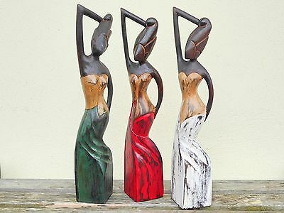 Wooden Hand Carved & Painted African Ladies Set Of 3 40cm.....