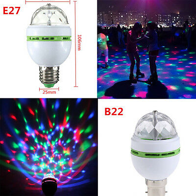 3W E27 B22 RGB LED Auto Rotating Party DJ Decor Crystal Magic Stage Bulb Light