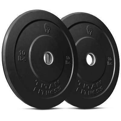 Titan Fitness Pair 10 lb Olympic Bumper Plate Black Benchpress Strength Training