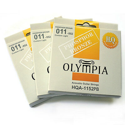 3 Sets / Packs Of Olympia 11-52 Acoustic Guitar Strings HQ Phosphor Bronze