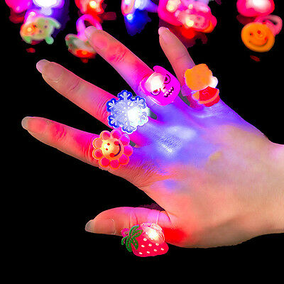 Kids Festival Christmas Electronic Glitter Shiny Finger Flash Decor Rings Toys