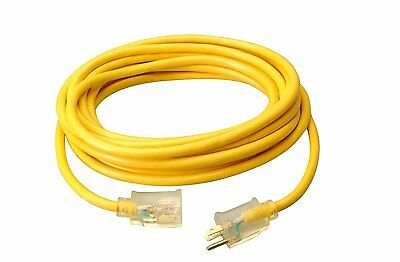 Coleman Cable 02587 12/3 25-Foot Vinyl Outdoor Extension Cord (2587) Yellow CXX
