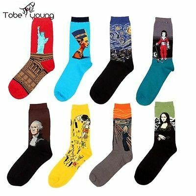 Fashion Women Men Unisex Funny Art Painting Cotton Crew Socks Long Ankle Sock