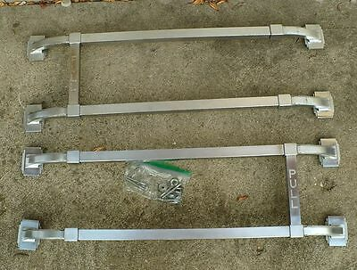 Antique Vintage 1940's Matched Set of 2 Metal Art Deco Door Push / Pull Bar
