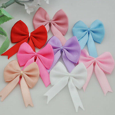 40pcs Satin Ribbon Bows Flowers Wedding Appliques DIY Craft U pick A44