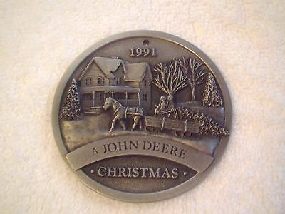 John Deere  Ornaments 1991 Collectors Tractor Christmas Pewter