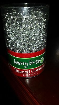Merry Brite Silver Color Beaded Garland 32 Feet Long