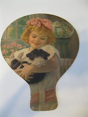 Vintage Jersey Ice Cream Advertising Fan  Girl Holding Dog
