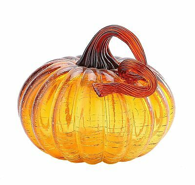 "New 5"" Hand Blown Art Glass Amber Pumpkin Sculpture Fall Figurine Harvest"