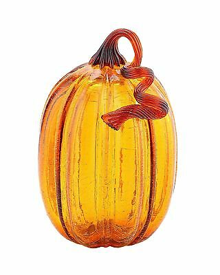 "New 8"" Hand Blown Crackle Art Glass Amber Pumpkin Sculpture Fall Harvest"