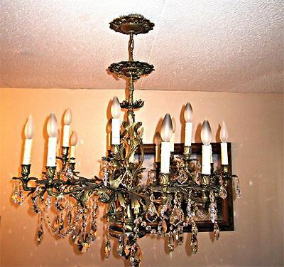 Antique Classic French Gold Solid Brass 15 Light Crystal Chandelier Lighting