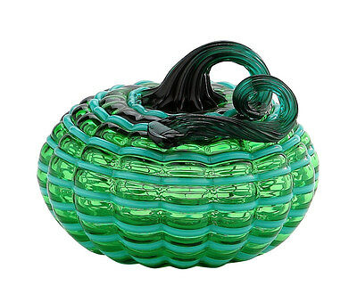 "New 5"" Hand Blown Art Glass Pumpkin Sculpture Fall Green Harvest"