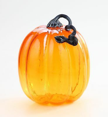 "New Large 11"" Hand Blown Art Glass Pumpkin Sculpture Fall Orange Harvest"
