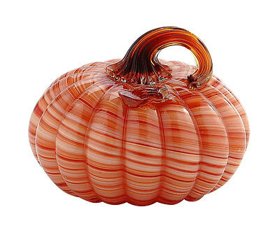 "New 5"" Hand Blown Art Glass Pumpkin Sculpture Fall Orange White Harvest"