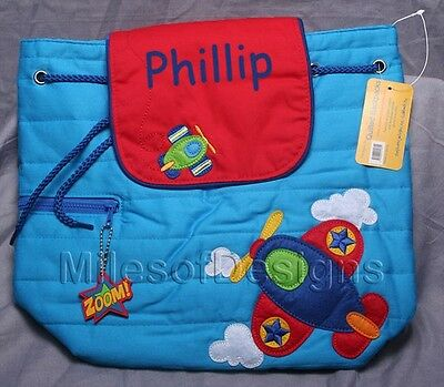 Toddler Backpack Personalized Stephen Joseph Blue Airplane Custom Name