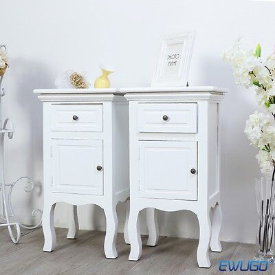 1Pcs Or Pair Of White Chic Bedside Tables  With 1 Draw And Cupboard Cabinet Uk