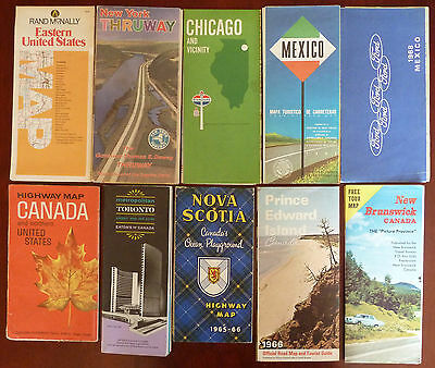 1960's Vintage Road Map Lot of 11 / Canada, United States & Mexico