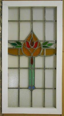 "LARGE OLD ENGLISH LEADED STAINED GLASS WINDOW Stunning Floral 21"" x 39.25"""