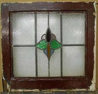 "OLD ENGLISH LEADED STAINED GLASS WINDOW Beautiful Floral 20"" x 19"""