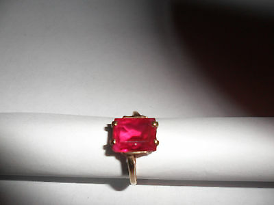 ANTIQUE with Square RED Ruby solitaire RING~MARKED~GTR 10k YELLOW gold Size 6.5