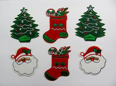 EMBROIDERY PATCH / IRON ON choice of christmas designs tree, stocking, santa