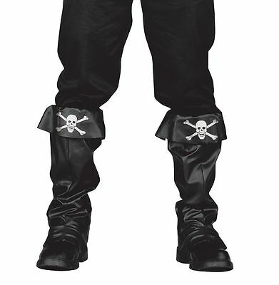 Pirate Boot Covers Boots Black Leather-Look High Shoe Top Costume Mens Adult NEW