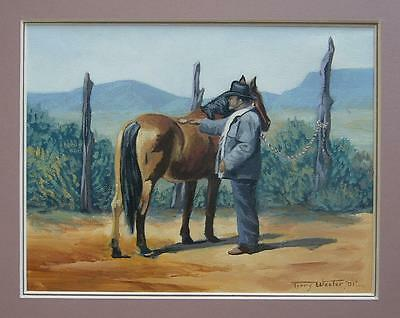 Original Oil COWBOY AND HIS HORSE Signed TERRY WESTER Matted SOUTHWESTERN