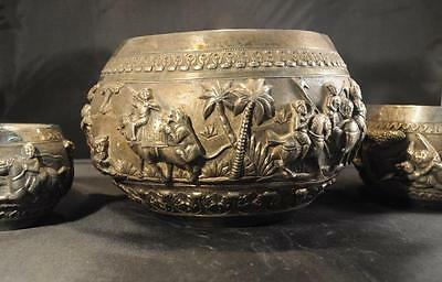 LUCKNOW- Indian or Burmese Colonial Silver Antique Southeast Asian Repousse Bowl