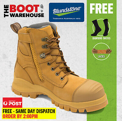Blundstone 992 Steel Toe Safety Men's Work Boots. Wheat, 150mm, Lace & Zip!