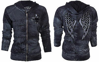Sinful AFFLICTION Women Hoodie Sweat Shirt ZIP UP Jacket GUARDIAN LION Wings $74