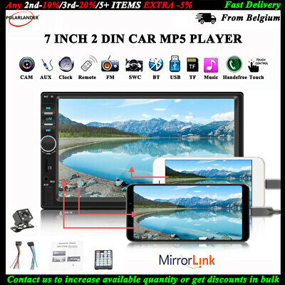 7'' 2 DIN HD Car Radio Stereo Double MP5 Player Bluetooth Touch USB/AUX+Camera