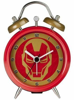 New Licensed Marvel Iron Man Mini Twinbell Analogue 3 Hand Alarm Clock - Red