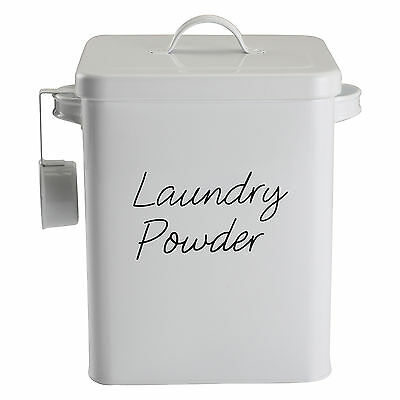 New Laundry Powder Storage Box Tablet Chic Washing Tin Utility Container Vintage