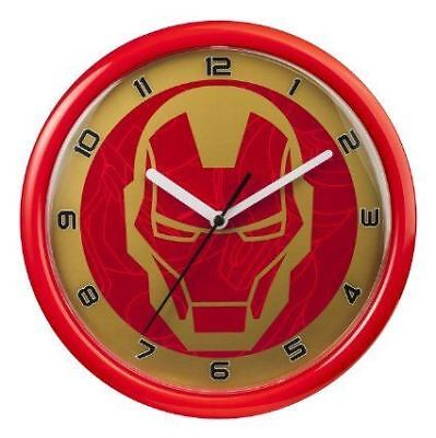 New Licensed Marvel Iron Man Analogue 3 Hand 10 Inch Wall Clock - Red / Gold