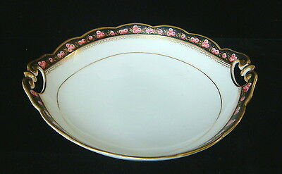 Vintage French Porcelain Hand Painted Roses China - 2 Handled Serving Bowl-b