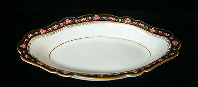 Vintage French Porcelain Hand Painted Roses China - Oblong Sm Serving Bowl-a