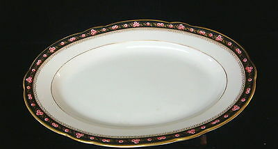 """Vintage French Porcelain Hand Painted Roses China-13 1/4""""x 9"""" Oval Platter-b"""