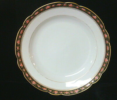 """Vintage French Porcelain Hand Painted Roses China - 12"""" Service Plate     ab"""