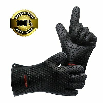 Homar Set of 2 Silicone Heat Resistant BBQ Grill Gloves Oven Mitts [Black] NEW