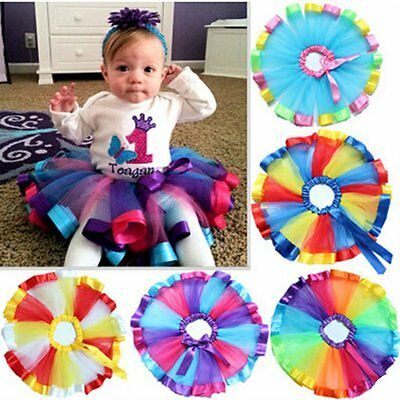Girls Kids Party Ballet Dance Wear Tutu Skirt Dress Colorful Pettiskirt Costume