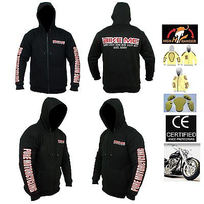 Men Motorbike Hoodie With Fully Protective Lining And CE Approved Armour.