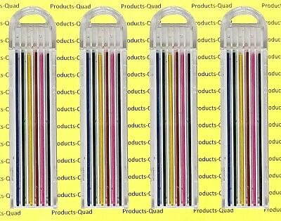 6 different 0.9mm Colored lead refills 4 packs of 6 leads 0.9mm color .9 mm lead
