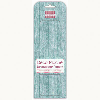 3 Sheets Of Decoupage / Deco Mache Paper First Edition Blue Wood