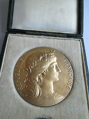 Large French Sterling Silver Gilt Medal