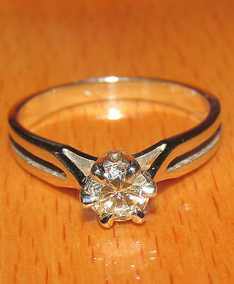 STUNNING  SECONDHAND 14ct WHITE  GOLD 0.50ct DIAMOND SOLITAIRE  RING SIZE N1/2