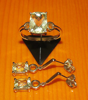 STUNNING SECONDHAND 9ct YELLOW GOLD GREEN AMETHYST EARRINGS & RING SIZE M SET